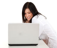 Female doctor and laptop Royalty Free Stock Photos