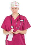 Female doctor with liquid soap Stock Photos