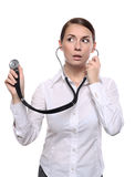 Female doctor listen with a stethoscope Stock Photo