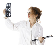 Female doctor looking at tomography brain Stock Image