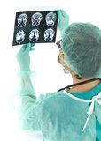 Female doctor looking at tomography brain Stock Photos