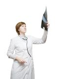 Female doctor looking at an x-ray Royalty Free Stock Photo