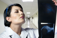 Female doctor looking at an x-ray Royalty Free Stock Photography
