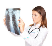Female doctor looking at x-ray picture of lungs Royalty Free Stock Photography