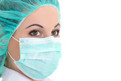 Female doctor in mask over white - close up portrait Stock Photos