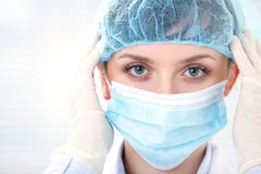 Female doctor in medical gloves Royalty Free Stock Image