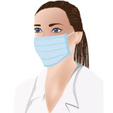 Female doctor with medical mask on face. Female doctor wearing medical mask, white uniform vector illustration