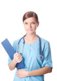 Female doctor with medical reports Royalty Free Stock Photos