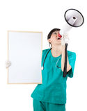 Female doctor with megaphone and board Stock Photos
