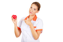 Female doctor or nurse holding a toy heart and pointing at them Royalty Free Stock Image