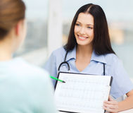 Female doctor or nurse showing cardiogram. Healthcare and medical concept - female doctor or nurse showing cardiogram to patient Royalty Free Stock Photos