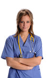 Female Doctor or Nurse with Stethoscope Stock Photo