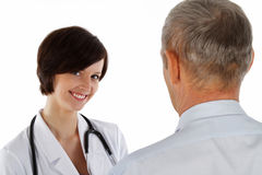 Female doctor and  man. Female doctor and older man Royalty Free Stock Photo