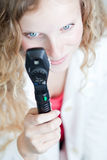 female doctor/optometrist checking your eyes Royalty Free Stock Photography