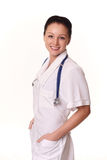 Female doctor over white Royalty Free Stock Photos