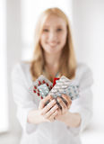 Female doctor with packs of pills Stock Image
