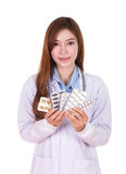 Female doctor with pills Stock Image