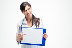 Female doctor pointing finger on clipboard Stock Image