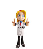 Female doctor with pointing pose Stock Image
