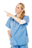 Female doctor pointing at something Stock Photo
