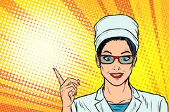 Female doctor points to the side gesture. Pop art retro vector illustration cartoon comics kitsch drawing stock illustration