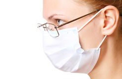 Female doctor portrait in mask and glasses Royalty Free Stock Photo