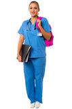 Female doctor posing with backbag Stock Images