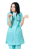 Female doctor with pregnancy test Royalty Free Stock Photos