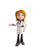 Female doctor with presentation pose Royalty Free Stock Photo