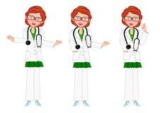 Female doctor presentation set stock photos