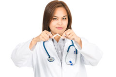 Female Doctor Quit Smoking Angled At Camera H Stock Image