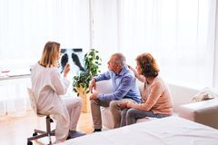Female doctor with x-ray talking to a senior couple. Royalty Free Stock Images