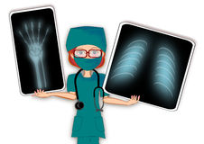 Female doctor x ray. Woman female doctor x ray presentation style illustration stock illustration