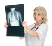Female doctor reading x-ray chest, lungs Stock Image