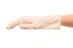 Female doctor's hand in white sterilized surgical glove Royalty Free Stock Photo