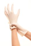 Female doctor's hands putting on white sterilized surgical gloves. Close up of female doctor's hands putting on white sterilized surgical gloves against white Stock Image