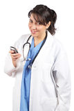 Female doctor send a SMS Stock Photo