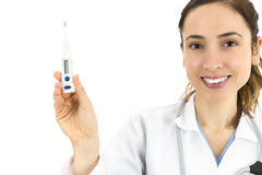 Female doctor showing a digital thermometer Royalty Free Stock Images