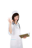 Female doctor showing ok Royalty Free Stock Photo