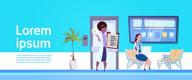 Female Doctor Showing Results Of Examination To Woman Patient ith Laptop In Hospital Waiting Room. Flat Vector Illustration Royalty Free Stock Photos