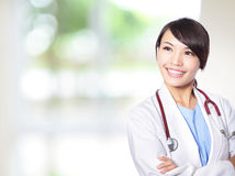 Female doctor smile look to copy space Royalty Free Stock Photo