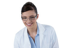 Female doctor smiling against white background Stock Photo