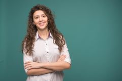 Female doctor smilling on green background. copy space . helthcare and medicine concept royalty free stock photos