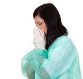 Female doctor with snotty, runny nose Stock Photography