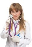Female doctor with the Stethoscope Stock Photos