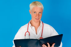 Female doctor with stethoscope Stock Photo