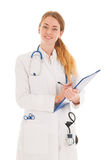 Female doctor with stethoscope and clipboard Stock Photos