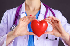 Female doctor with the stethoscope holding heart.  stock photo