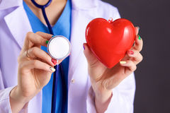 Female doctor with the stethoscope holding heart.  royalty free stock image