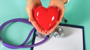 Female doctor with the stethoscope holding heart.  stock photography